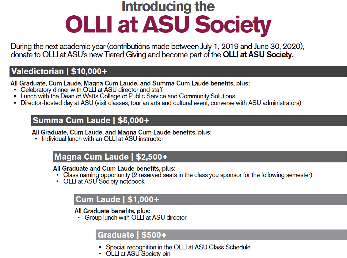 During the next academic year (contributions made between July 1, 2019 and June 30, 2020), donate to OLLI at ASU's new Tiered Giving and become part of the OLLI at ASU Society. Valedictorian | $10,000+, Summa Cum Laude | $5,000+, Magna Cum Laude | $2,500+