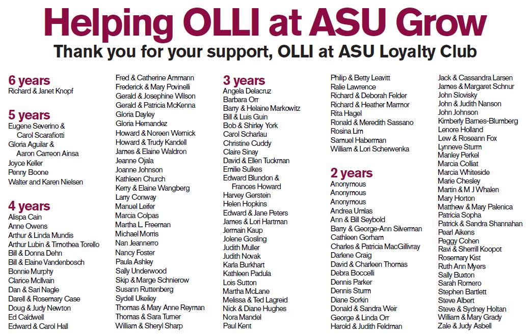 Spring 2019 OLLI at ASU Loyalty Club Members