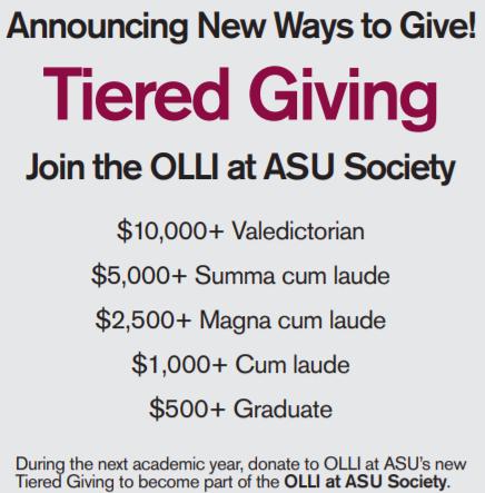 Tiered Giving - OLLI at ASU Society